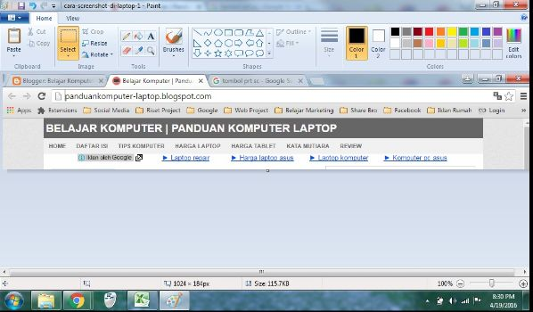 cara screenshot di laptop dengan paint