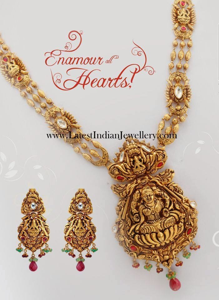Antique Lakshmi Haram and Earrings