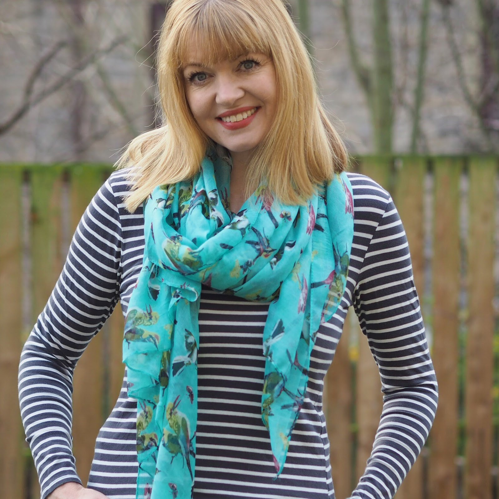 Aqua birds of paradise scarf, £12.50