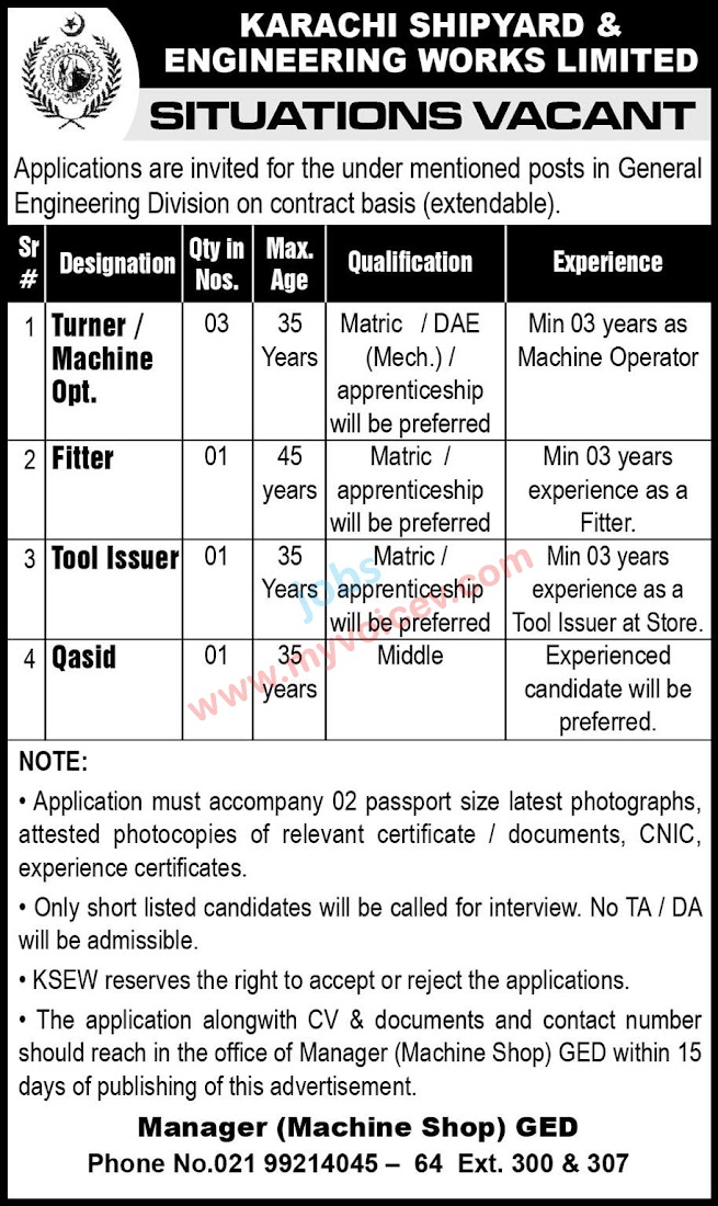 ➠ #Jobs - #CareerOpportunities at Karachi #Shipyard and Engineering Works Limited  - Hurry Apply with in 15 days