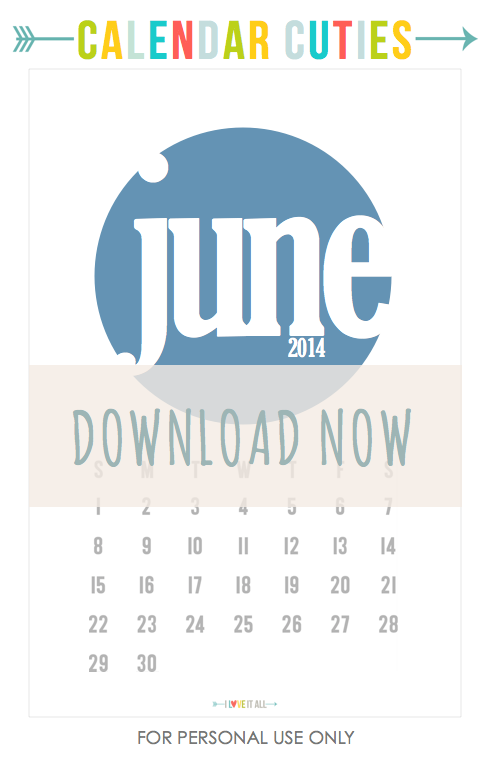 #calendar #june #iloveitall #downloads #free #projectlife # printable #scrapbooking #miniialbum