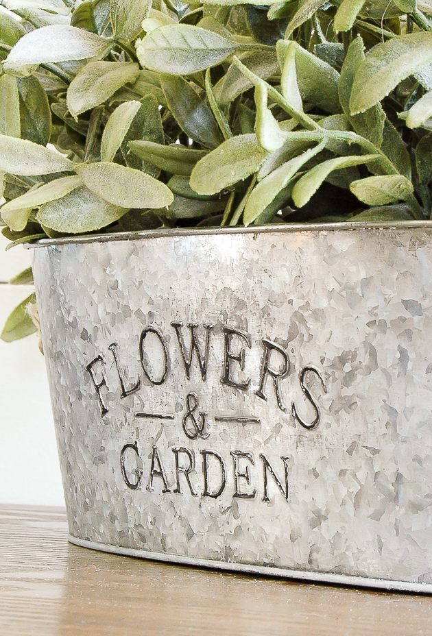 aged dollar tree metal planter