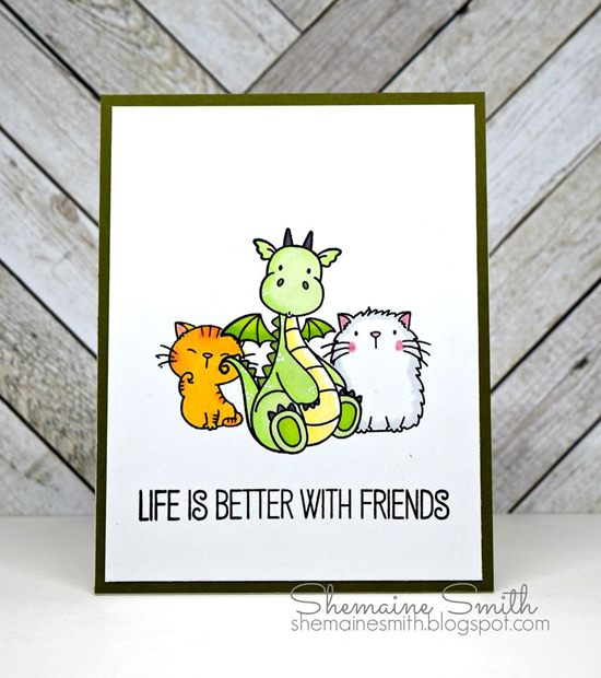 Birdie Brown Cool Cat and Magical Dragons, Laina Lamb Design Tickled Pink stamp sets - Shemaine Smith #mftstamps