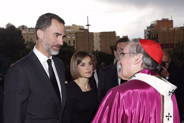 King Felipe of Spain and Queen Letizia of Spain attended the memorial service for the 150 victims of the Germanwings crash at the Sagrada Familia Cathedral