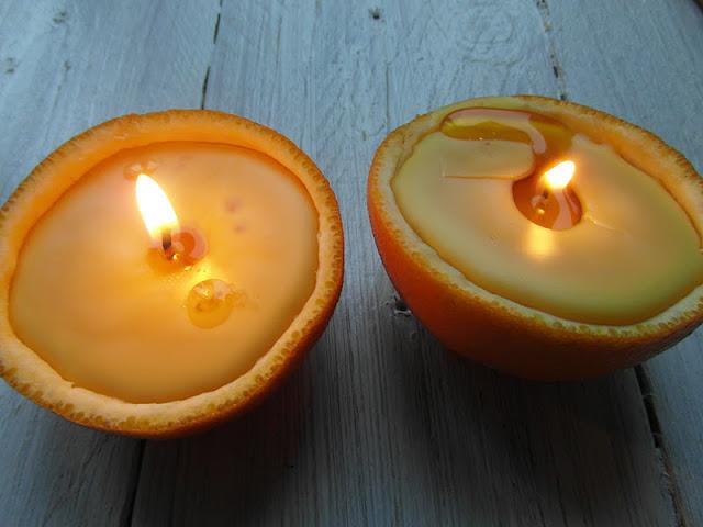 Vela con naranja