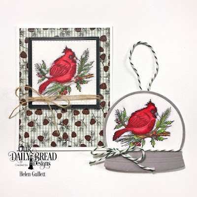 Our Daily Bread Designs Stamp Set: Winter Cardinal, Custom Dies: Snow Globe, Rectangles, Double Stitches Rectangles, Pierced Rectangles, Paper Collections: Christmas 2017, Wedding Wishes