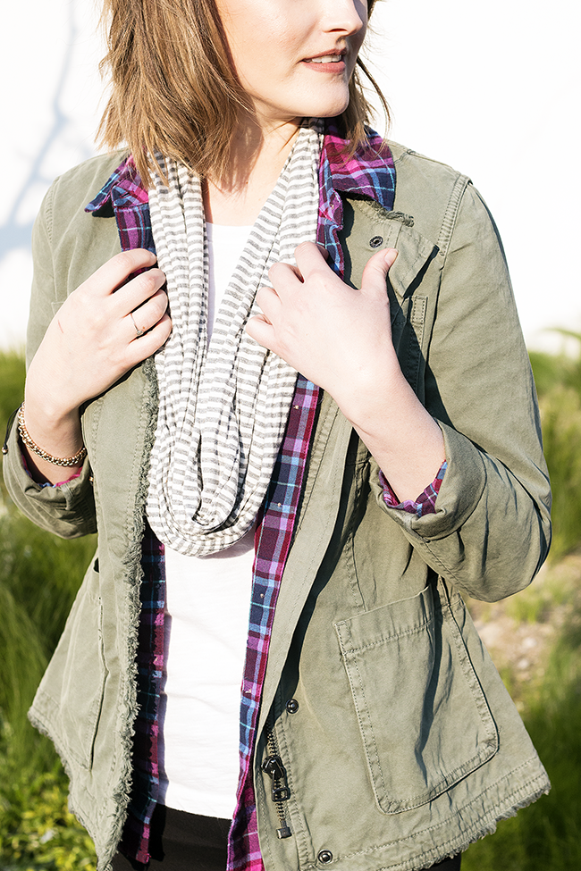 Banana Republic Military Jacket + Plaid and Striped Scarf