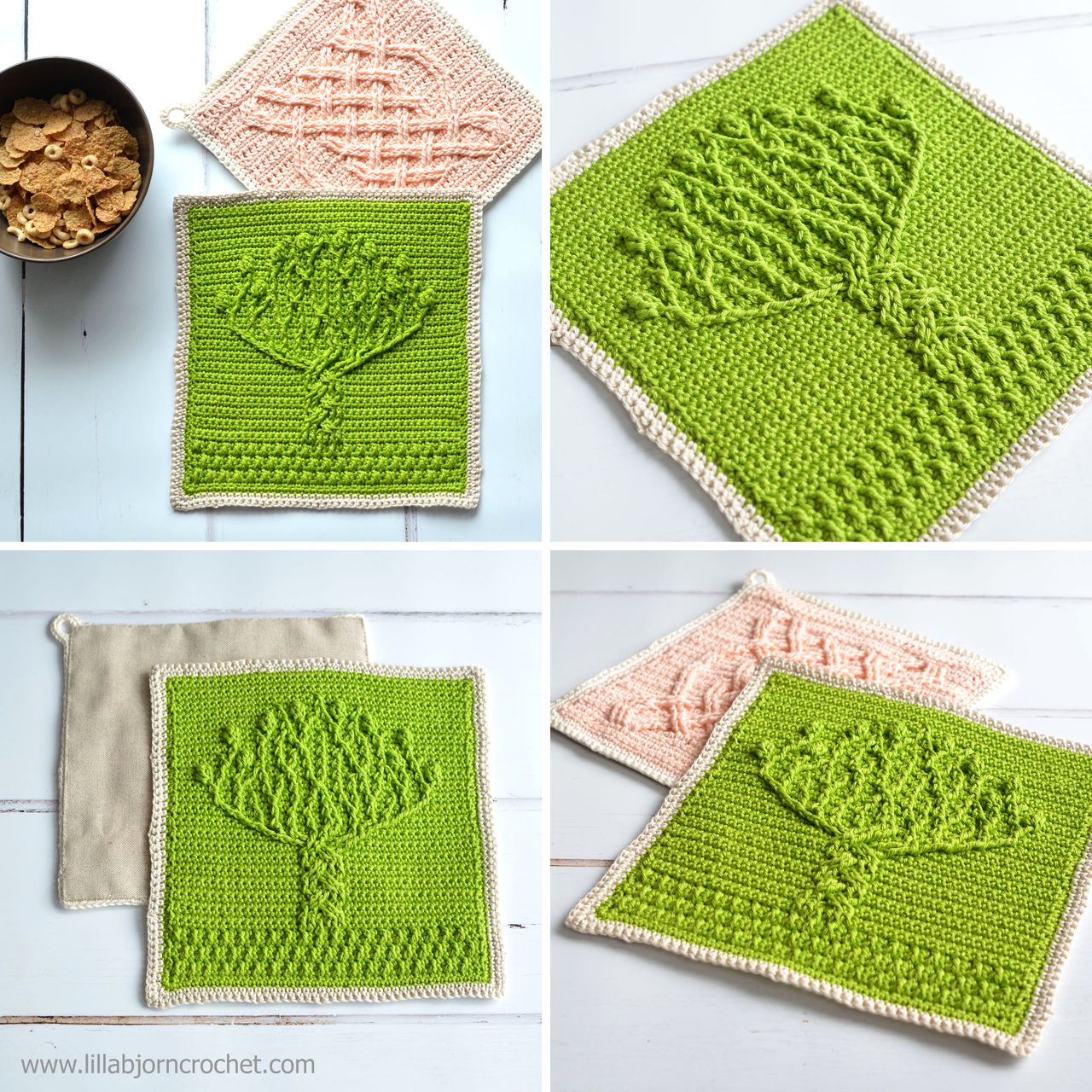 Tree of Life potholder - overlay crochet pattern by Lilla Bjorn