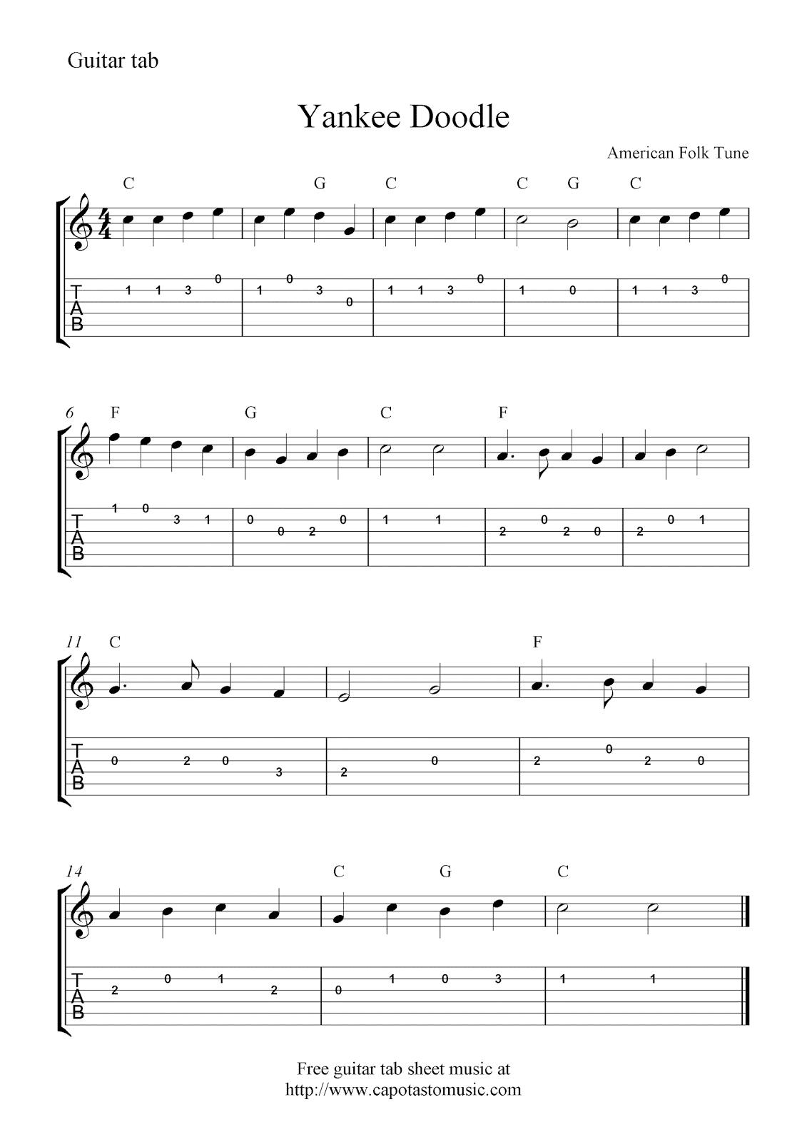 Yankee Doodleeasy Free Guitar Tab Sheet Music Score