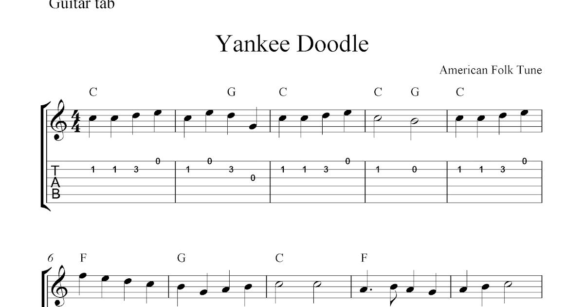 Yankee Doodle,easy free guitar tab sheet music score