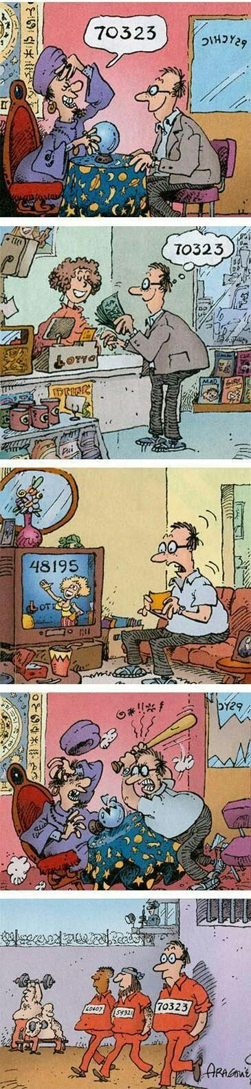 Funny 70323 Lottery Psychic Fail Cartoon