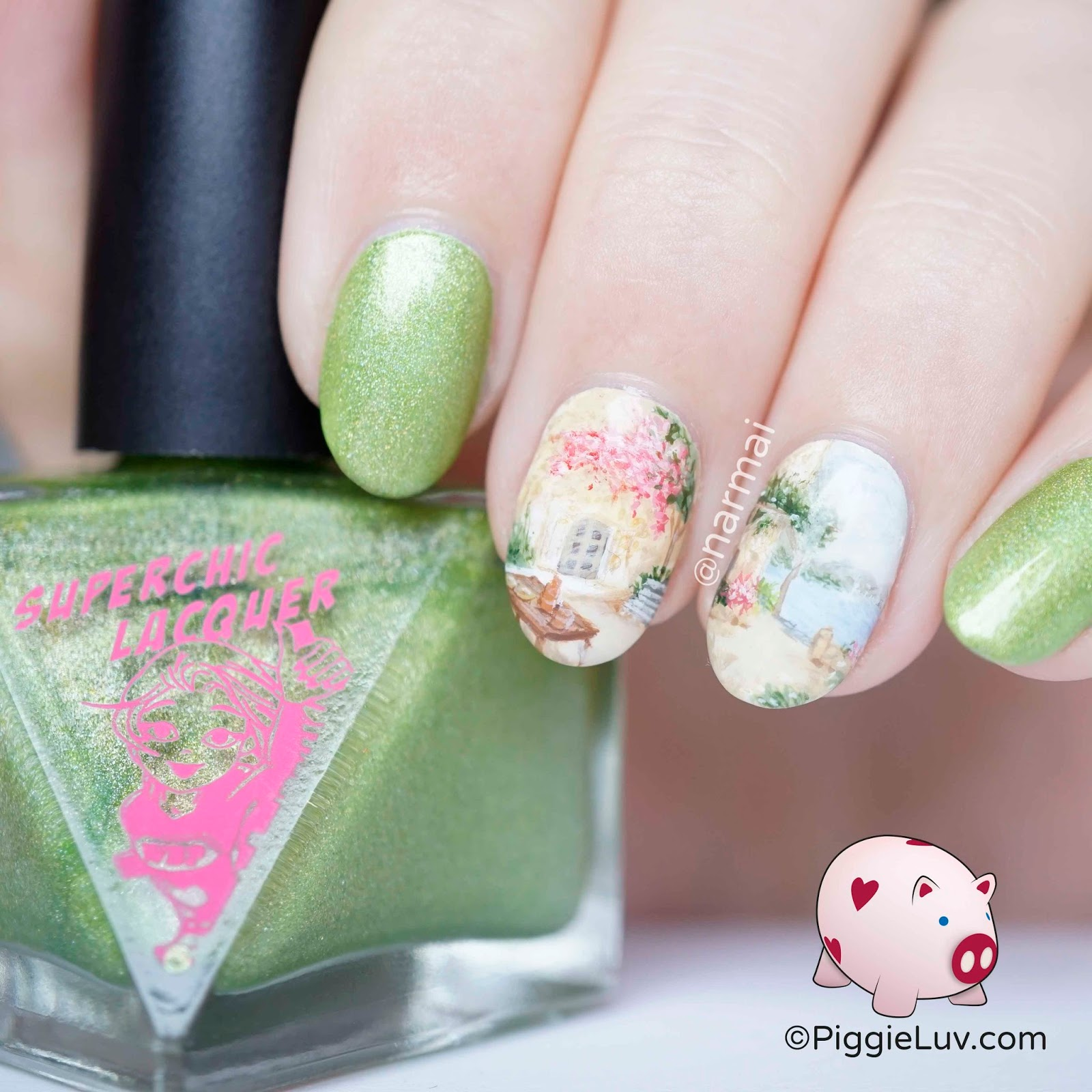 Piggieluv Freehand Summer Terrace Nail Art