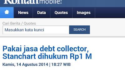 Stanchart - Pake Jasa Debt Collector Stanchart dihukum 1 Milyar Rupiah