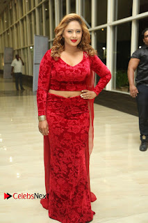 Actress Nikesha Patel Pictures in Red Dress at Araku Road Lo Audio Launch 0180