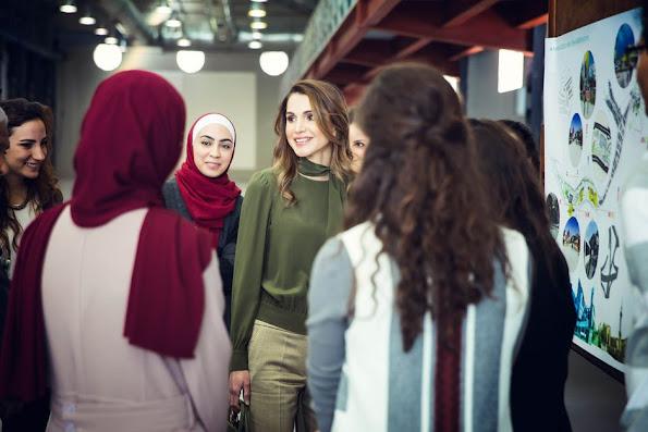 Queen Rania of Jordan visited the Amman Design Week venue in downtown Amman