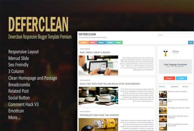 DOWNLAOD TEMPLATE BLOGGER DEVERCLEAN RESPONSIVE