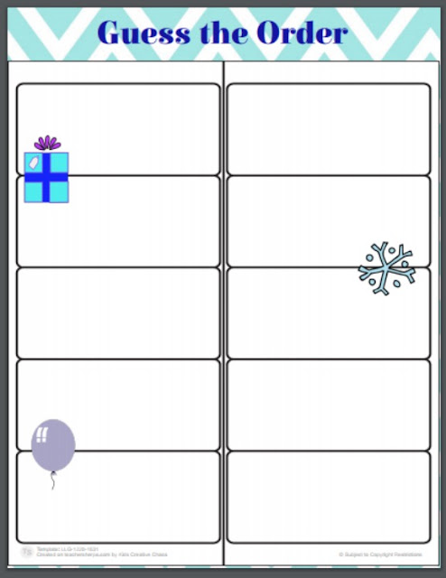 New Year Activities and Games Free Printable Guess the Order