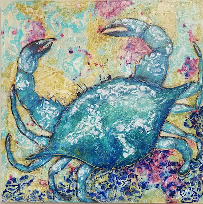 colorful coastal crab painting