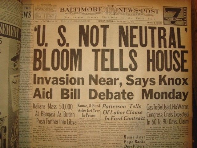 31 January 1941 worldwartwo.filminspector.com Baltimore News-Post headlines