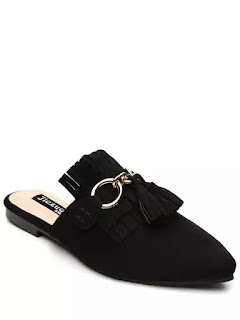 Pointed Toe Flat Heel Tassels Slippers - Black