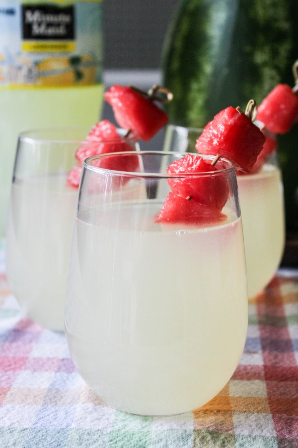 This Lemonade with Frozen Watermelon Cubes is a deliciously refreshing drink that is perfect to cool off with on a hot summer day!