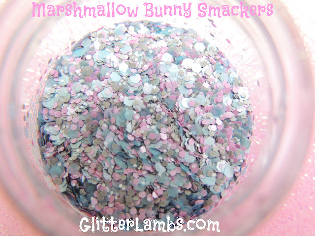 "Glitter Lambs ""Marshmallow Bunny Smackers"" loose glitter mix has an assorted mix of gray hex glitters, light pink hex, light blue hex and tiny white hex."