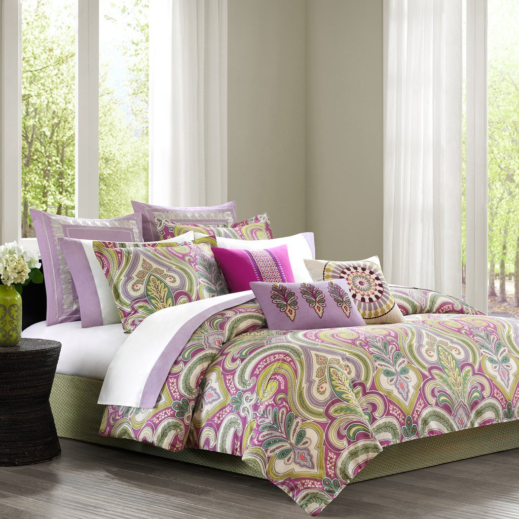 Green bedding set - Purple And Green Bedding Purple Paisley Green Accents Comforter Set