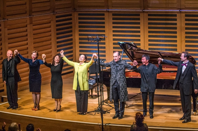 Charles Owen, Elena Langer, Katya Apekisheva, Lisa Smirnova, Danny Driver, Melvyn Tan, Ilya Itin at the 2017 London Piano Festival at Kings Place. ©ICA Media