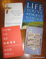 books by Brian McLaren, John Ortberg, Rob Bell and Michael Harper
