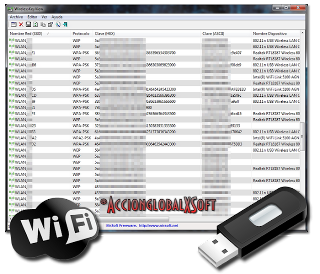 WirelessKeyView 2.20 - Recupera claves de redes wifi almacenadas en cualquier PC
