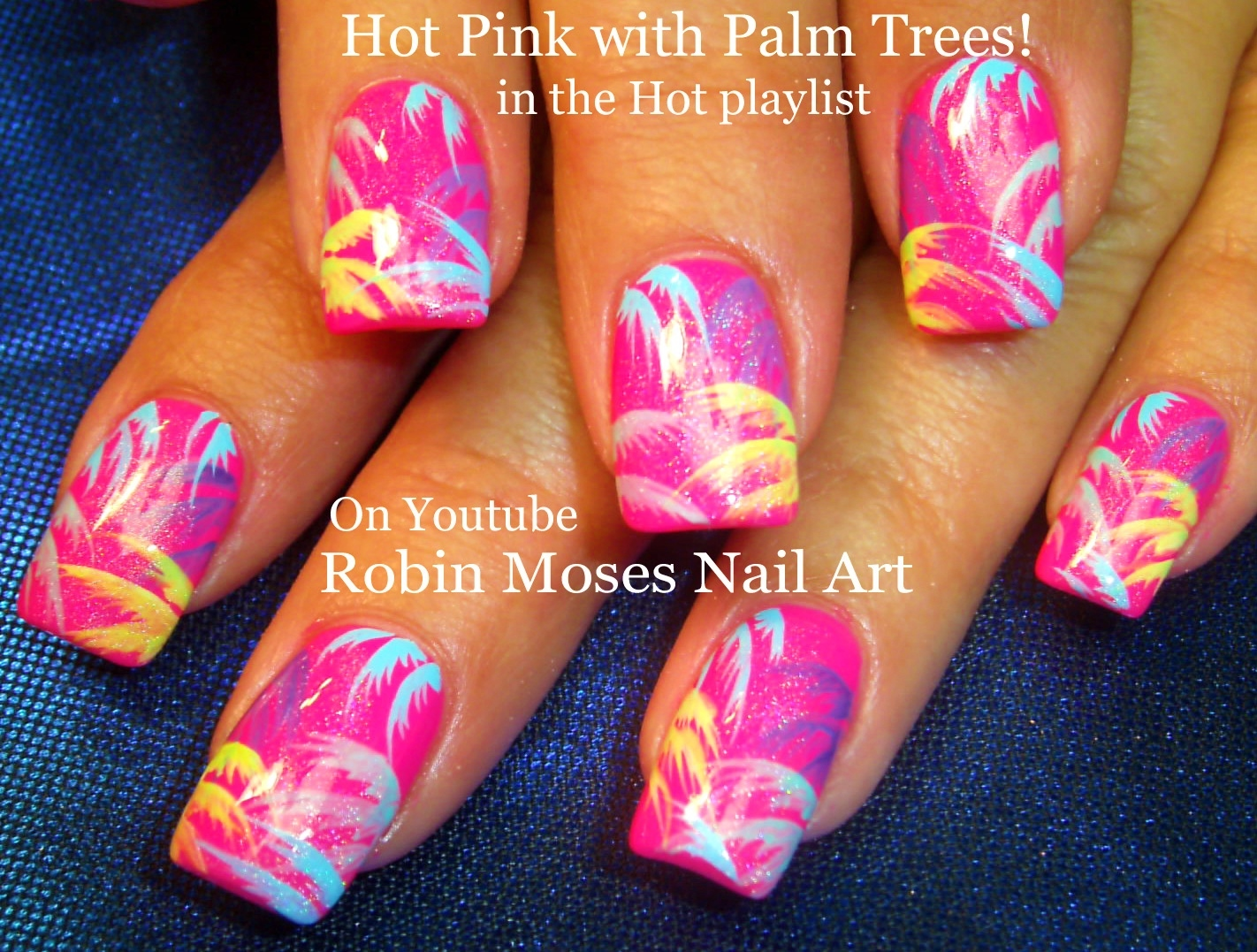 Nail Art By Robin Moses Easy Neon Pink Summer Nails Up And Perfect