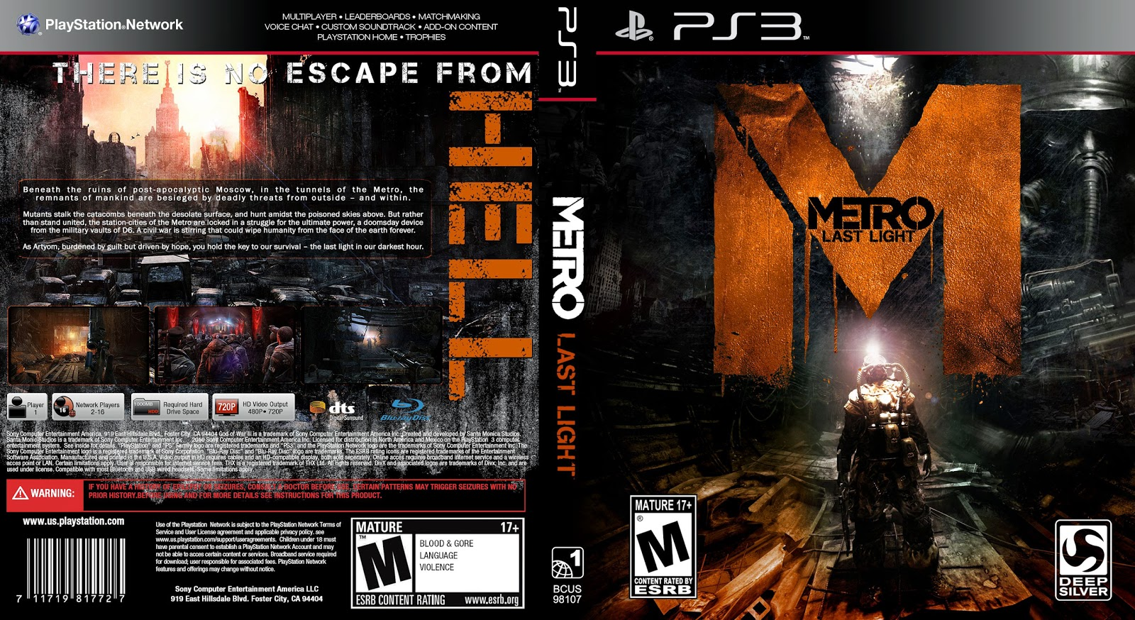 Capa Metro Last Light PS3