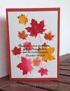 """Stampin' Up! Karte mit dem Kartenset Erinnerungen und mehr """"Farbenspiel"""", Thinlits """"aus jeder Jahreszeit"""" und stempelset """"jahr voller Farben"""" aquarelltechnik blätter"""
