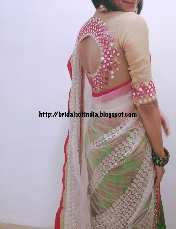 Fashion world mirror work saree blouse designs for Mirror work saree