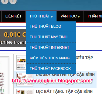 TẠO MENU DROPDOWN CHO BLOG