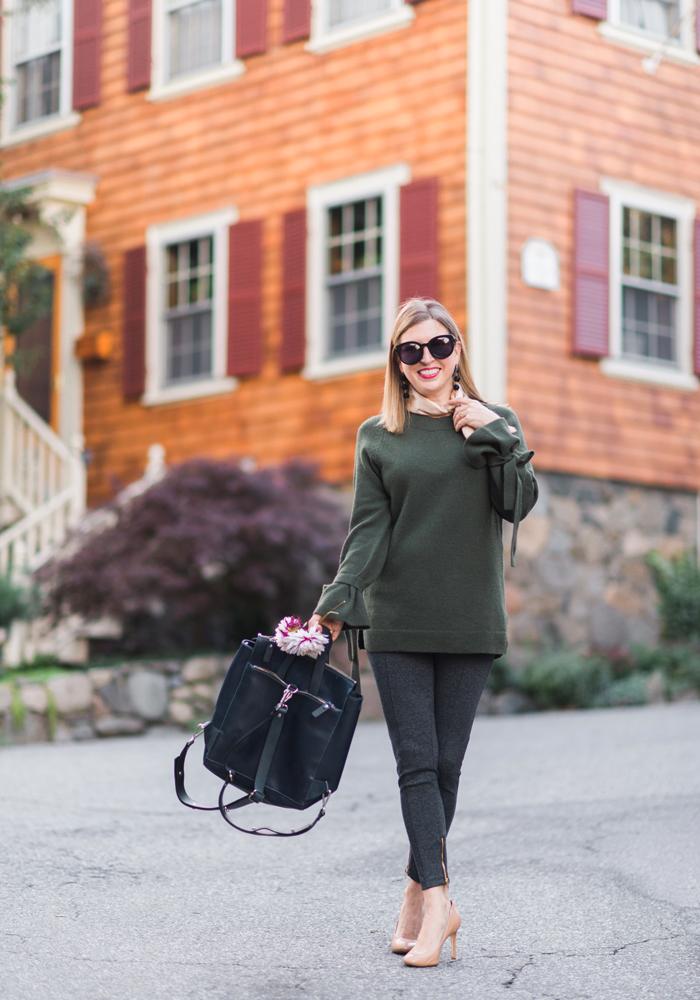 Ann Taylor Luxewear wool cashmere tie-sleeve sweater