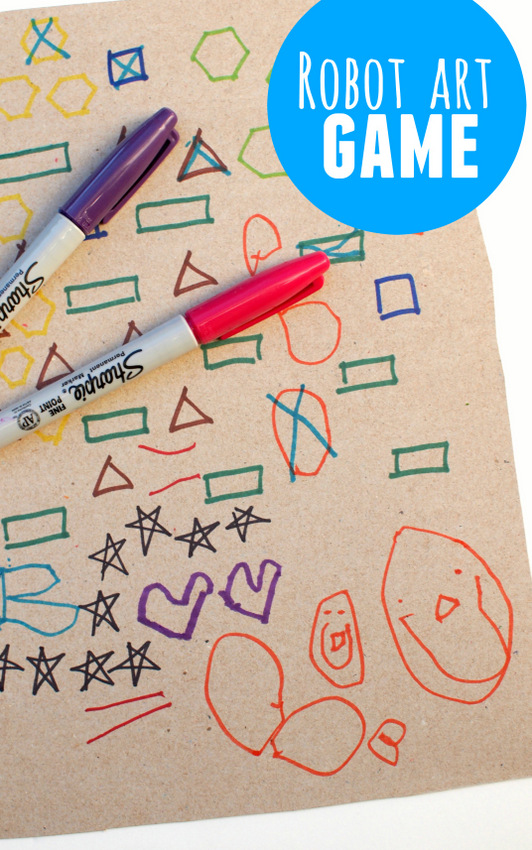Robot Art Game- Easy Preschool Art Idea that combines game and arts