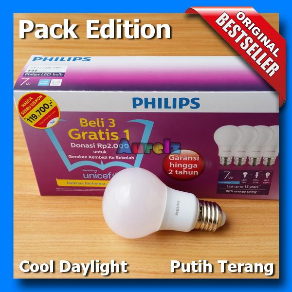 lampu led philips 7 watt cool daylight beli 3 gratis 1 edisi unicef pack edition