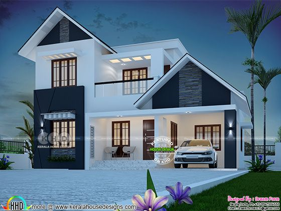 1850 sq-ft 4 bedroom sloping roof Kerala home plan