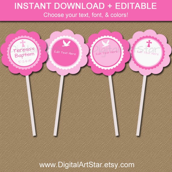 Pink Baptism Cupcake Toppers with Editable Text