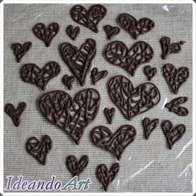 Corazones chocolate fundido