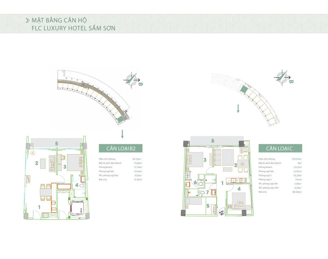Mặt bằng thiết kế căn hộ loại B2 và C Condotel 7 tầng