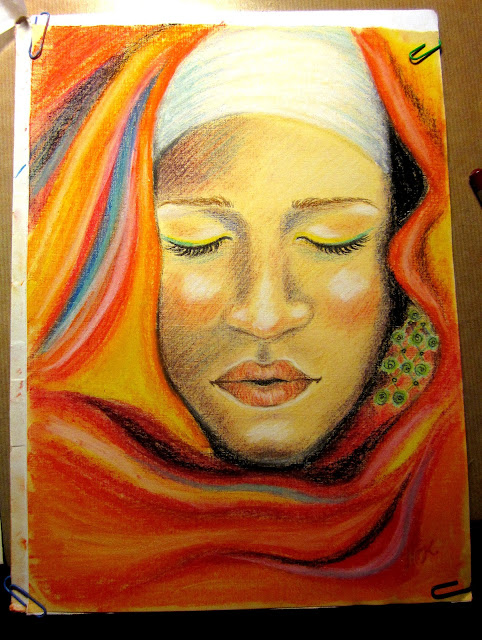 Soft pastel pencil portrait drawing