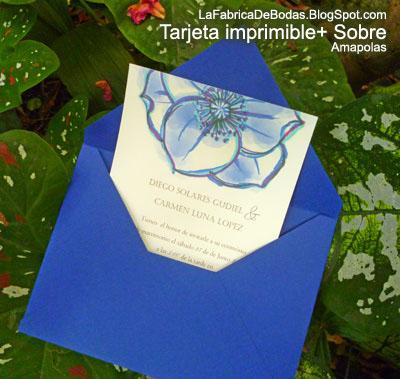 diseador tarjeta de boda en flores azules celestes aua en amapolas con sobre para invitacion azules