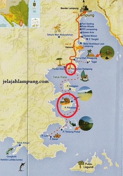 peta rute pulau pahawang