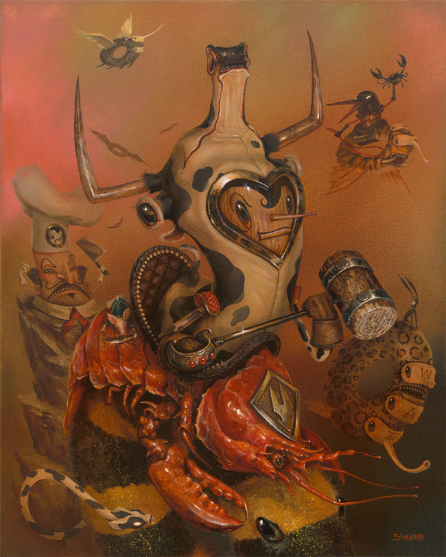 05-Surf-and-Turf-Greg-Craola-Simkins-Fantastical-Surreal-Paintings-Full-of-Details