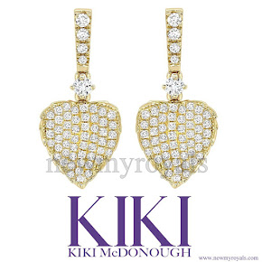 Kate Middleton wore Kiki Lauren Yellow Gold Pave Diamond Leaf Earrings