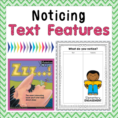 This post has some great resources (including a freebie) for introducing text features to your students.