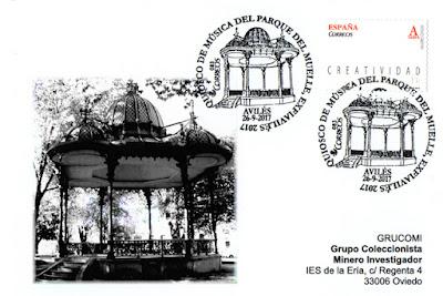 Tarjeta de Grucomi para el matasellos del quiosco de música del parque del muelle de Avilés