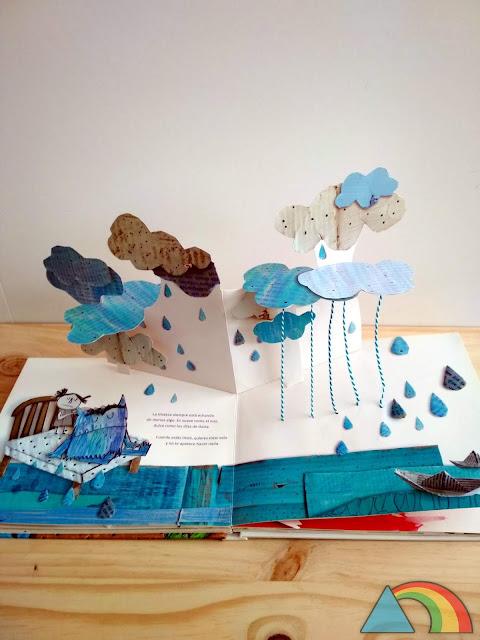 Interior del libro pop-up el monstruo de colores